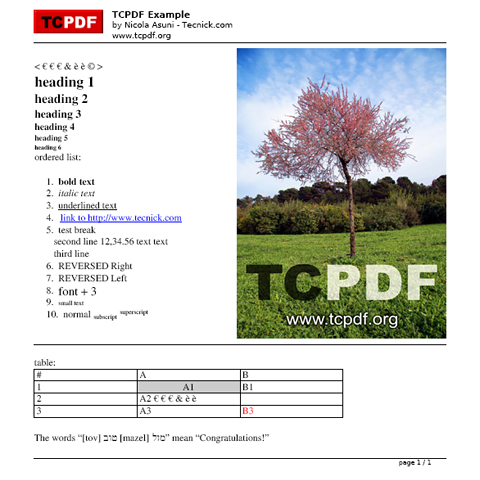 TCPDF - PHP class for PDF